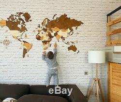 Carte Du Monde En Bois 3d S Sz (44 X 28) Mur Décor Carte Avec Les Noms De Pays