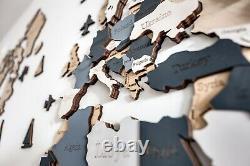 Carte Du Monde En Bois M Sz (63 X 37) Blanc Gris Et Beige Avec Pays Et États