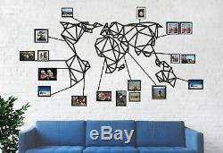 Carte Géométrique Du Monde En Métal Mur Métal Décorations Pour Les Murs Art Salon Décoration