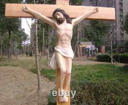 Catholique Grand Jésus Sur Bois/bois/décor Mur Crucifix Suspension Croix Statue 22