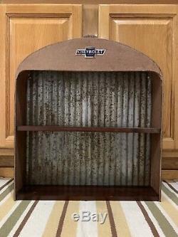 Chevrolet Radiateur Shelf Signe Mur Métal Décor Style Vintage Gaz Huile Peut Affichage