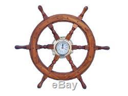 Commande Du Bateau Roue 24 Avec Laiton Porthole Horloge Murale En Bois Nautique Décor Nouveau