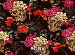 Crâne De Papier Peint De Photo Avec L'affiche Géante De Papier De Décor De Mur De Roses Pour La Chambre À Coucher