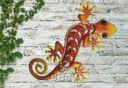 Creekwood Gecko Extérieur De Jardin En Métal Lizard Wall Art Déco Grand Orange