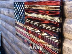 Décor De Mur De Drapeau Américain Rustique En Bois Carbonisé Kpcc 36 X 18