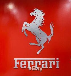 Décoration Murale Ferrari Signent Des Lettres Garage En Argent Brossé Aluminium Logo Cadeau 4 Pieds