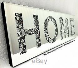 Diamant Crush Sparkly Argent Mirrored Accueil Mur Décoratif Art Suspendu 20x60cm