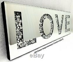 Diamant Crush Sparkly Argent Mirrored Amour Mur Décoratif Art Suspendu 20x60cm