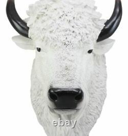 Éclairage Sacré Grand Décor Mural De Buffalo Blanc 18 Tall Faux Buffalo Bison Head
