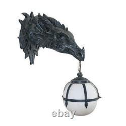 Elder Gothic Dragon Head Mounted Lampe De Mur Décoratifs Pour La Maison Statue Imitant La Pierre