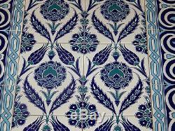 Élevé Iznik Bleu Motif Floral 32x56 Carreaux De Céramique Turc Panneau Mural