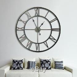 Énorme 100cm Fer Métal Antique Mur Roman Numéro Horloges Vintage Décoration