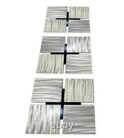 Ensemble D'art De Mur En Métal De 3 Décor Carré, Décor Contemporain D'art De Mur D'argent