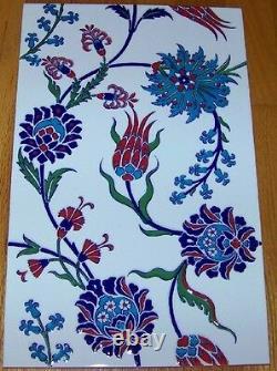 Ensemble De 5 Iznik Carnation & Floral Pattern 10 X 16 Raised Turkish Ceramic Tile