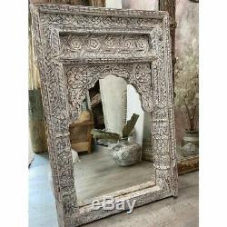 Exécutions Spéciales Mehrab Indian Carved Mirror Jharokha Mur, Arche En Bois Décor 90x60