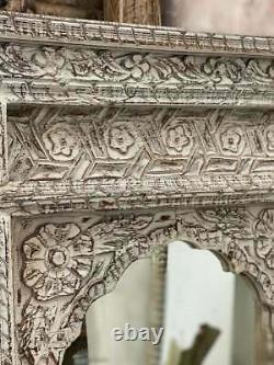 Fait Pour Commander Mehrab Indian Carved Mirror Jharokha Wooden Arch Wall Décor 90x60