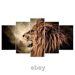 Fierce Male Lion Roar 5 Pieces Toile Wall Art Poster Picture Home Decor