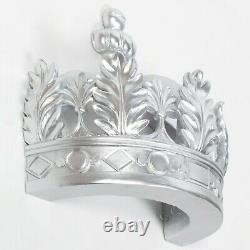 Français Antique Style Silver Crown Bed Wall Canopy Royal Bedroom Decor Mariage