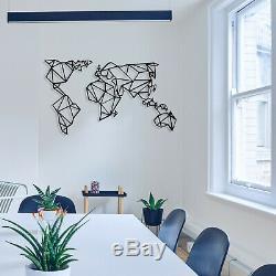 Géométriques Carte Du Monde En Métal Avec Cadres Mur De Luxe Art Décor Décoration Murale