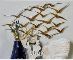 Gold Seagulls Troupeau D'oiseaux Art Art Sculpture 3-d Métal Coastal Beach Décor