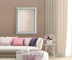 Grand Antique Blanc Ornement Miroir Shabby Chic Encadrée Tenture Décorative