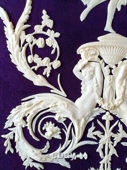Grand Antique Louis XVI Ornement Blanc En Plastique Miroir Mural De Moulage Décoration