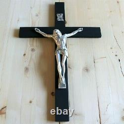 Grand Mur Crucifix Wood Black 17 Handmade USA Decor Cross Crucifijo Catholique