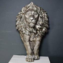 Grand Mur De Lion Plaque Sculpture Décoration Décor Animal Sauvage