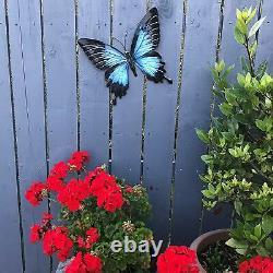 Grande Boîte Cadeau De Décoration D'art De Mur D'ornement Bleu Lumineux De Jardin De Papillon