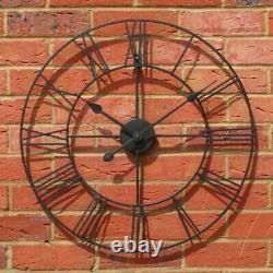 Grande Horloge Murale Big Roman Numerals Giant Open Face Metal Home Decoration Round