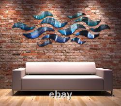 Grande Sculpture Murale En Métal Moderne Art Abstrait Blue Wave Painting Home Decor