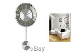 Gris Pendule Murale Horloge Poli Effet Chrome Décoratif Moderne Accueil