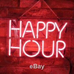 Happy Hour Réel Neon Light Sign Création Artesanat Bière Bar Paroi Lampe Décor