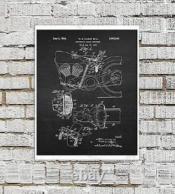 Harley Davidson Brevets Affiches Ensemble De 12 Unframed Wall Art Prints Biker Decor