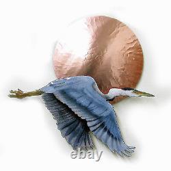 Heron Bleu Volant De Wall Art Au Décor De Mur De Sculpture De Mur De Mur De Métal De Coucher Du Soleil