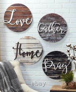 Home Wall Decor Wood Art Sentiment Plaques Signes Rustiques Amour Gather Home Or Pray
