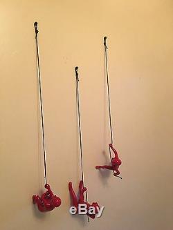 Homme D'escalade Art Déco Murale Rouge! Nouveau Design. Plus Gros. Plus Lourd. X 3 Pcs