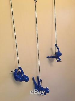 Homme Escalade Décor Art Mur Bleu! Nouveau Design. Plus Gros. Plus Lourd. X 3 Pcs