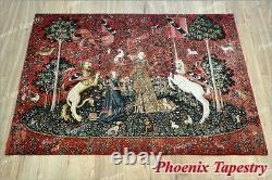 La Dame Et La Licorne Médiévale Fine Art Tapisserie Éponte Goût, 55x41, États-unis