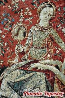 La Dame Et La Licorne Médiévale Fine Art Tapisserie Éponte Sight, 54x41, États-unis