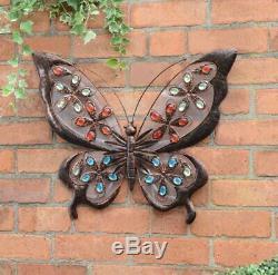 Led Énergie Solaire Mur Jeweled Papillon Métal Light Art Décoration Extérieure