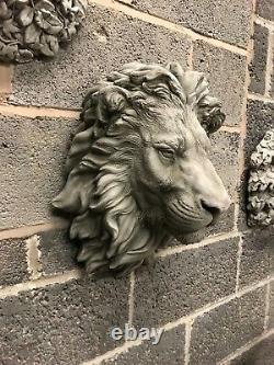 Lion Head Ornement Mur De Jardin En Pierre Majestueux Roi De La Plaque De Jungle Grande
