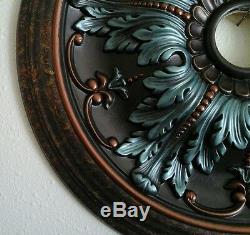 Main Élégante Peint Turquoise Cuivre Plafond Lustre Médaillon Décorations 20