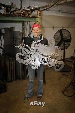 Massive Mur Métal Décoratif Octopus Art Hanging Home Decor Sea Sculpture Vie