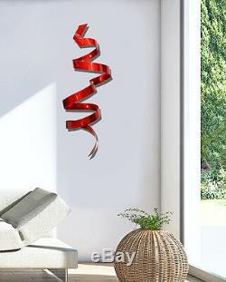 Metal Wall Art Ultra Moderne Mur Rouge Sculpture Décor Original Signe Jon Allen