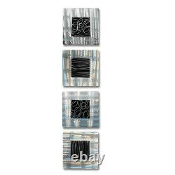 Metal Wall Art Unique Squares Black & Silver Etched Modern, Décor Abstrait