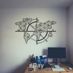Metal World Map Compass, Décorations Pour Les Murs En Métal, Travail D'art, Planisphère Wall Art