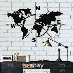 Metal World Map Wall Art Compass World Map Metal Wall Décor Accueil Décoration 5141