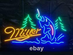 Miller Beer Fishing Get Hooked Neon Light Lamp Sign 24x20 Pub Wall Decor Bar