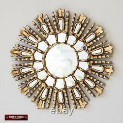 Miroir De Petite Explosion De Soleil D'or 11.8 Du Pérou, Décor Rond Découpé À La Main De Mur De Miroir Rond